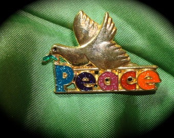 1970s Peace Dove Pin with Rainbow Enameling.