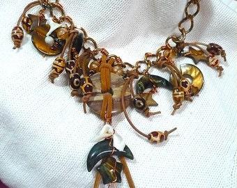 Statement Tiger Eye yellow blue  Agate  Copper  semi precious necklace