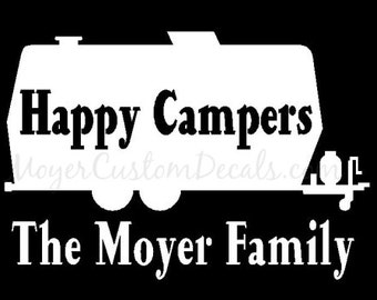 Travel Camp Trailer Camper Vinyl Decal Sticker - You Choose NAME and COLOR