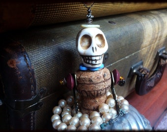 Steampunk Skull Bead Doll with Vintage Pearl Necklace