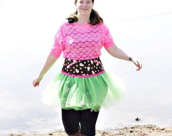 Ladies Owl Apple Green Corset Tutu with Pockets  -  Size XL- FREE US Shipping