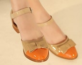 Beige And Orange Maryjane Low-heel Flats Size 6
