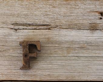 Vintage Natural Wooden Letter F