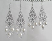 Silver Filigree Teardrop Bridal Earrings Dangle Chandelier Swarovski Crystals White Pearls Wedding Jewelry Bridal Jewelry