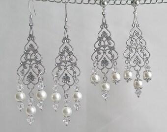 Silver Filigree Teardrop Bridal Earrings Dangle Chandelier Swarovski Crystals White Pearls Wedding Jewelry Bridal Jewelry