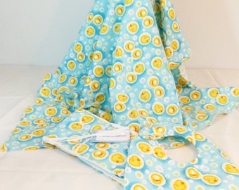 Rubber duckie flannel Layette Set Flannel Blanket, bib and burp cloths set patchwork