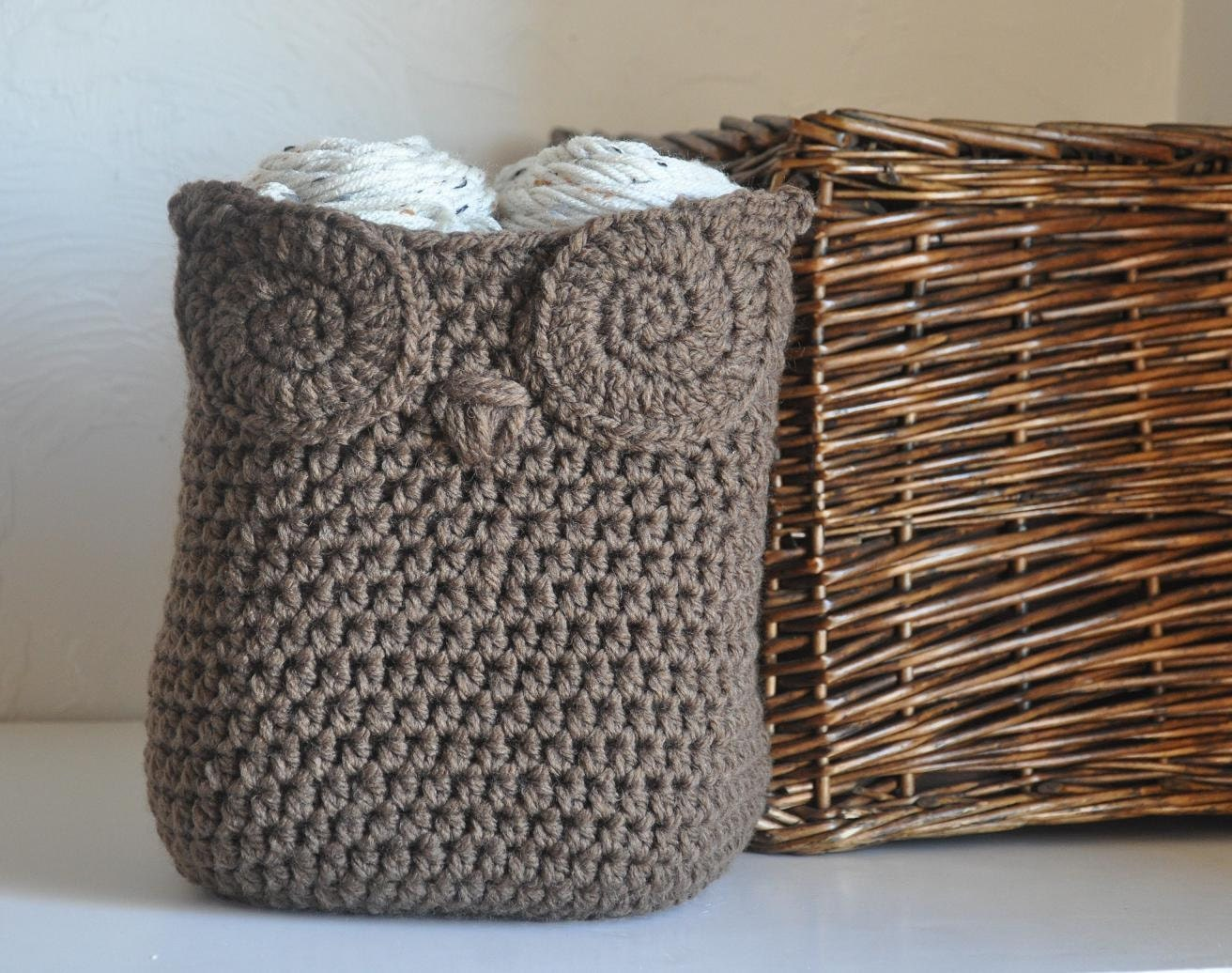 Owl Basket Crocheted Bin Yarn Holder Nursery by AandBDesignStudio