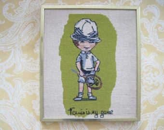 Tennis is My Game - vintage 1970s Needlepoint in original Brass Frame - art, picture, wall hanging