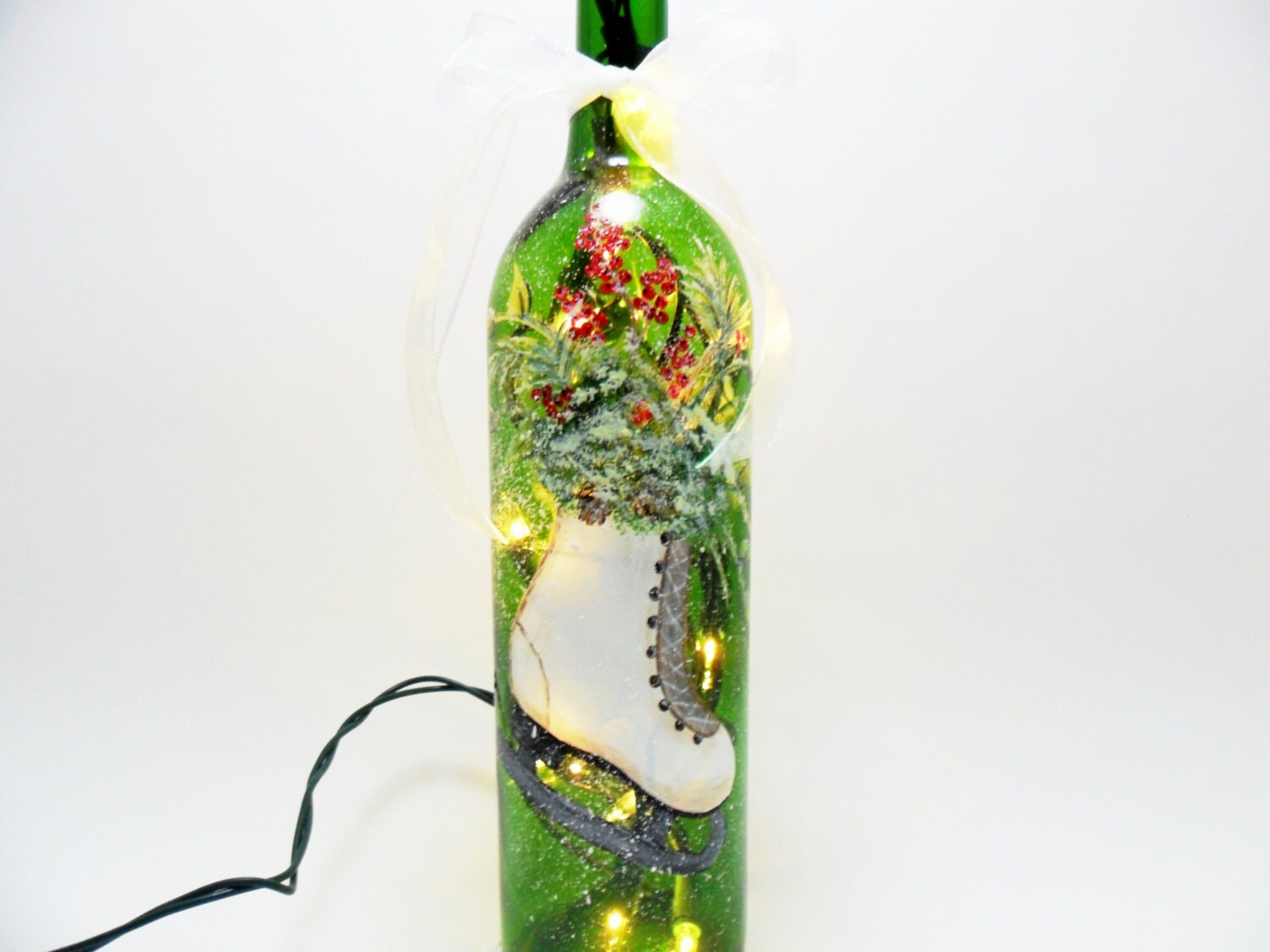 Lighted wine bottle ice skate hand painted by paintingbyelaine for Hand painted bottles