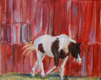 Horse, Sale, Pinto horse, equine art, Horse next to barn, Horse painting, Brown and white horse, Farm Animal, Farmhouse, Nashville, Pinto