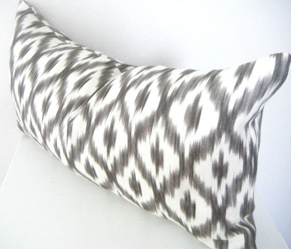 Black White Lumbar Pillow Linen Pillow Cover Ikat Throw