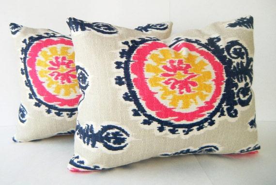 Pink Ikat Pillow 12 X16 Lumbar Pillow Decorative Pillows Navy