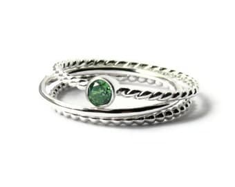 Cubic zirconia ring set Sterling silver stacking ring sterling silver ring green stackable ring twist, beaded