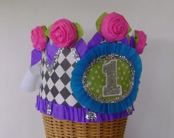 1st Birthday Crown, 1st Birthday Hat, party crown, party hat,  customize with any number