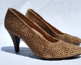 Vintage 80's MAUD FRIZON shoes pony hair animal print shoes pumps heels s8 1/2 by thekaliman