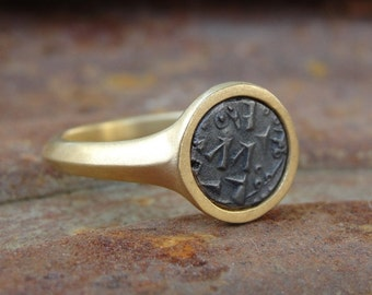 Ancient Coin Ring , Signet Ring , Gold and Ancient Islamic Coin Ring , Gold Ring , 18K Solid gold ring with ancient coin