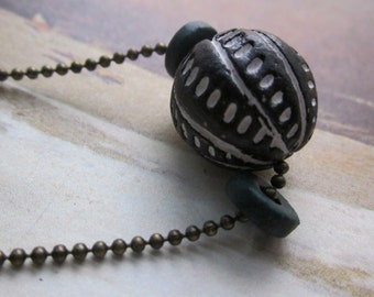 black white teal tribal - the aito necklace