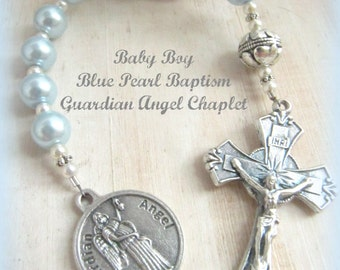 Baby Boy Baptism Light Blue Pearl Guardian Angel Rosary Chaplet