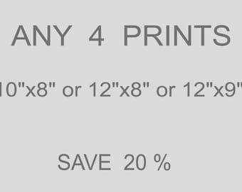 """ANY 4 PRINTS 10""""x8"""" or 12""""x8"""" or 12"""" x9"""" from an original watercolor paintings SAVE 20%"""