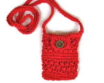 Crocheted small purse for iphone/smartphone with cross-body strap in red- iphone cardigan