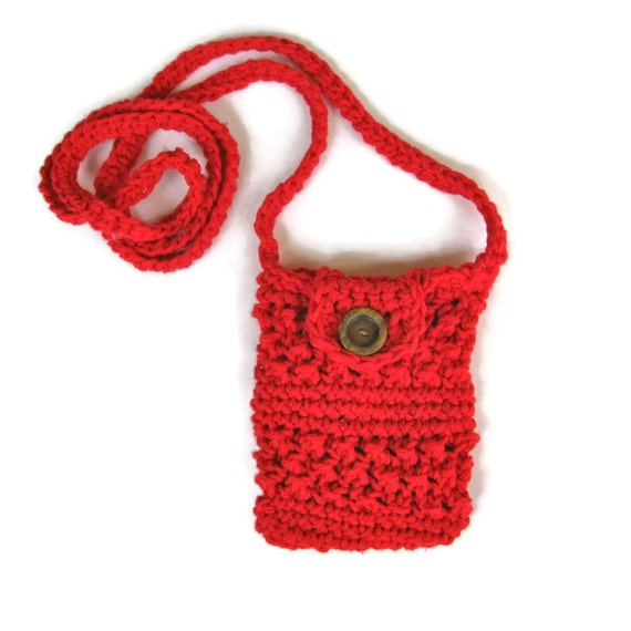 Crocheted small purse for iphone/smartphone with cross-body strap in ...