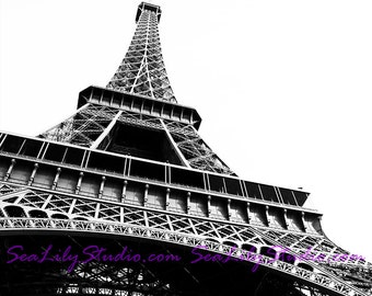 Eiffel Tower photo 24x36 : love paris france photography tourist travel photo black and white silhouette home decor