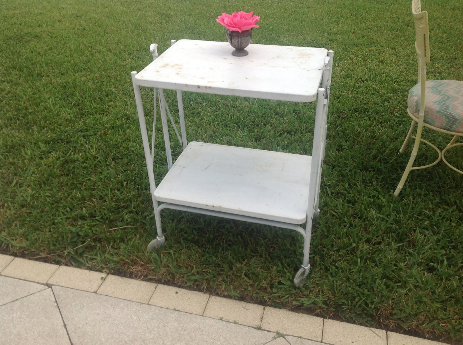 vintage white metal cart on wheels folding shabby chic cottage