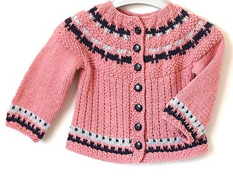 Knitting Pattern (PDF file) Baby Cardigan Color Work (sizes 0 up to 2 years)