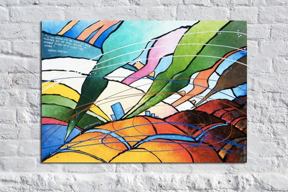 Funnel Clouds - 36 x 24 Original Modern Abstract Art Painting by Russ