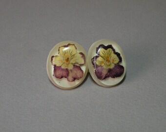 Vintage Pansy Earrings