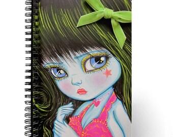 Sweet Big Eyed Baby Blue Original Artwork Task Journal