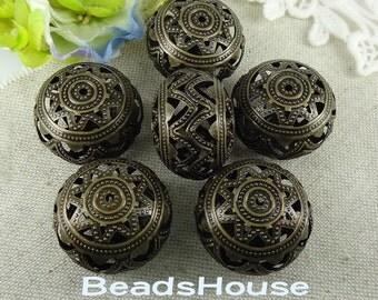 20% off 4pcs - (20x25mm) Antique Bronze Big Hollow Ball Beads Charm