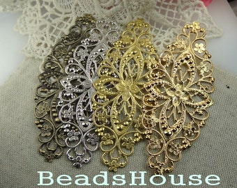 FF-600-63RW 10pcs Raw Brass Big Filigree, NICKEL FREE