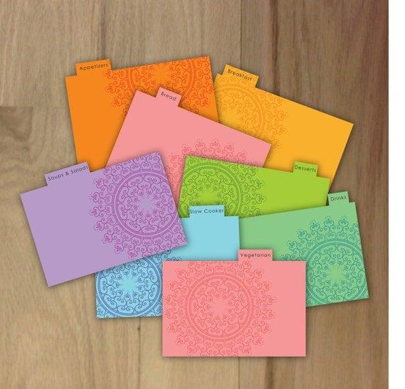 Items Similar To Printable Recipe Card Dividers Modern