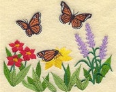 Monarch Butterflies  with flowers Embroidered Terry or Linen Hand Towel -- You Pick the Color & Fabric---Free Shipping