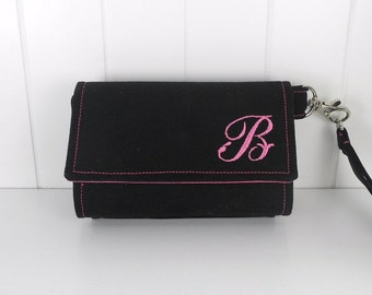 The Errand Runner - Cell Phone Wallet - Wristlet - for iPhone/Android - PERSONALIZED - Black/Hot Pink