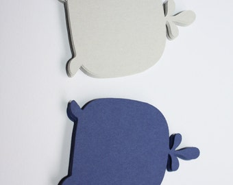 18 x Whale Die Cuts - Dark Blue and Grey