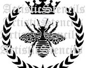STENCIL French Queen Bee Wreath Crown 12 Inch
