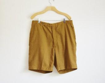 Vintage Mens Shorts, 70s Shorts, 70s Mens Shorts, Brown Yellow Shorts, Preppy 70s Shorts, Mens Pants, Mens Summer Clothes, Large Waist 37