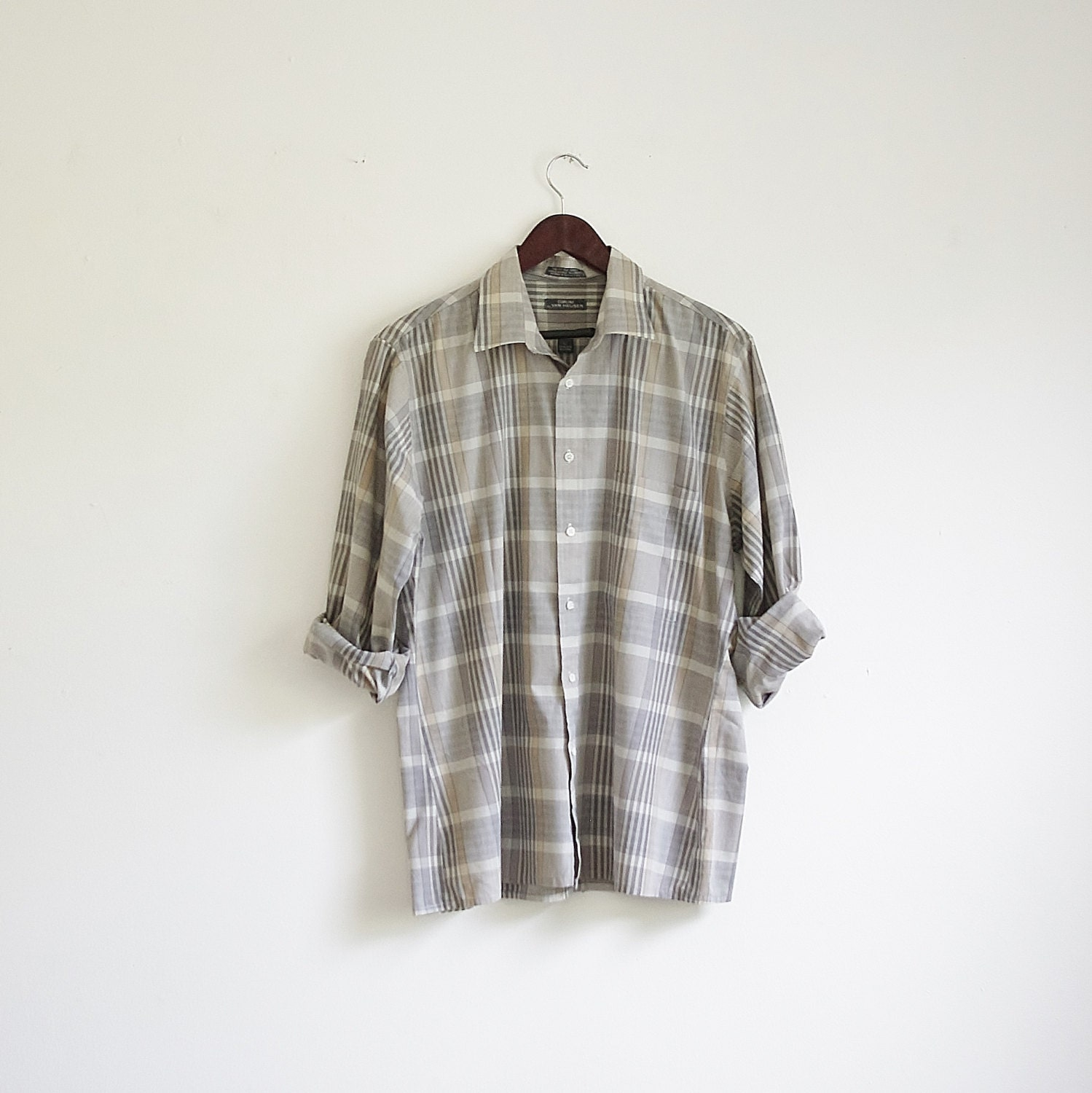 vintage mens button up shirt steel gray plaid by mituvintage