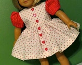SALE - 18 Inch Doll Short Sleeve Red and White Dress and Matching Panties by SEWSWEETDAISY