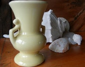 SALE! 50% OFF Vintage USA pottery vase Creamy Pale Yellow Gloss