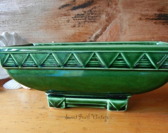 Vintage Green Pottery with Zig Zag Design
