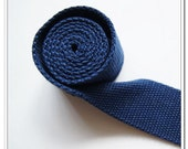 2 yards of 1.5 inch (38mm) Natural Heavy Duty Cotton Webbing blue