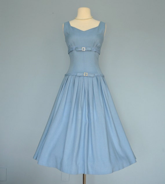 Vintage 1950s Party Dress...Chic Blue Linen Party Dress By