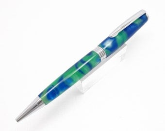 Handmade Acrylic Pen - A Writing Pen Made With Blueberry Lime Acrylic In Chrome Fittings