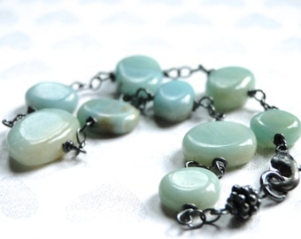 SALE Amazonite Jewelry, Amazonite Stone Bracelet, Sterling Silver, Gemstone Bracelet, Gift for Her Accessories, Gift Box