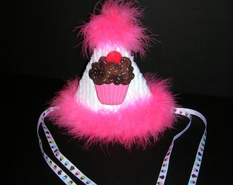 CLEARANCE SALE, Cupcake Birthday Hat, Ready to Ship