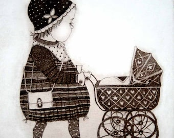 Etching / limited edition original etching (printmaking / graphic art) / original print / original art / girl etching - 'Girl with a Pram'