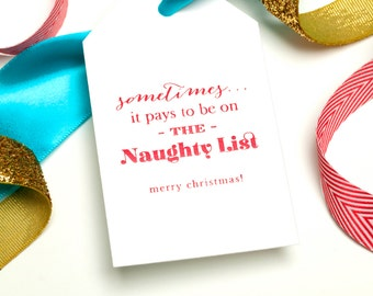 SALE! Holiday Gift Tag - Letterpress Foil Set of 12 Tags - Naughty List by Abigail Christine Design